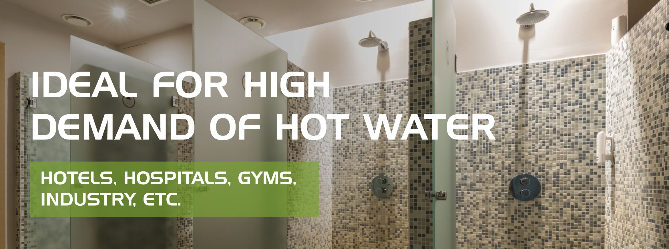 Thermodynamic solar hot water system for businesses, commercial, gyms, hotels, camp sites, restaurants, schools, hospitals