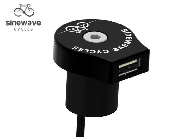 Sinewave Cycles Reactor Black. Top cap style dynamo USB charger.