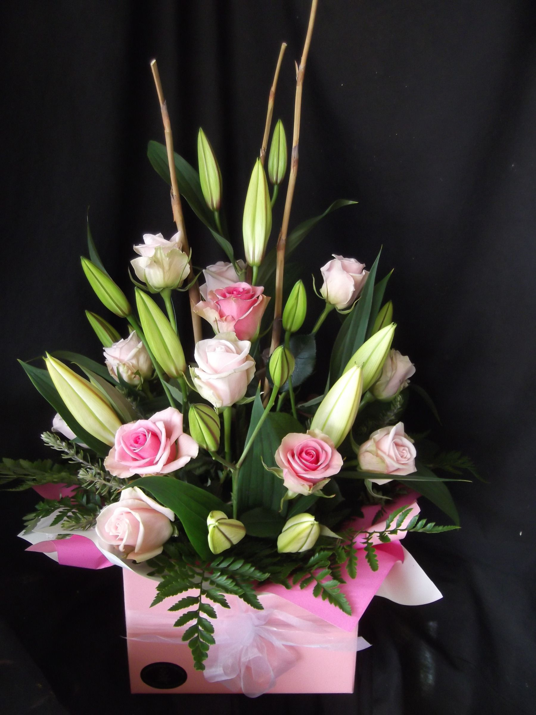 Lilies And Roses In A Box