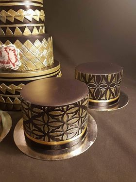 Auckland's Pietra 13 cakes using the Diamond Pattern and Diamond Flower stencils