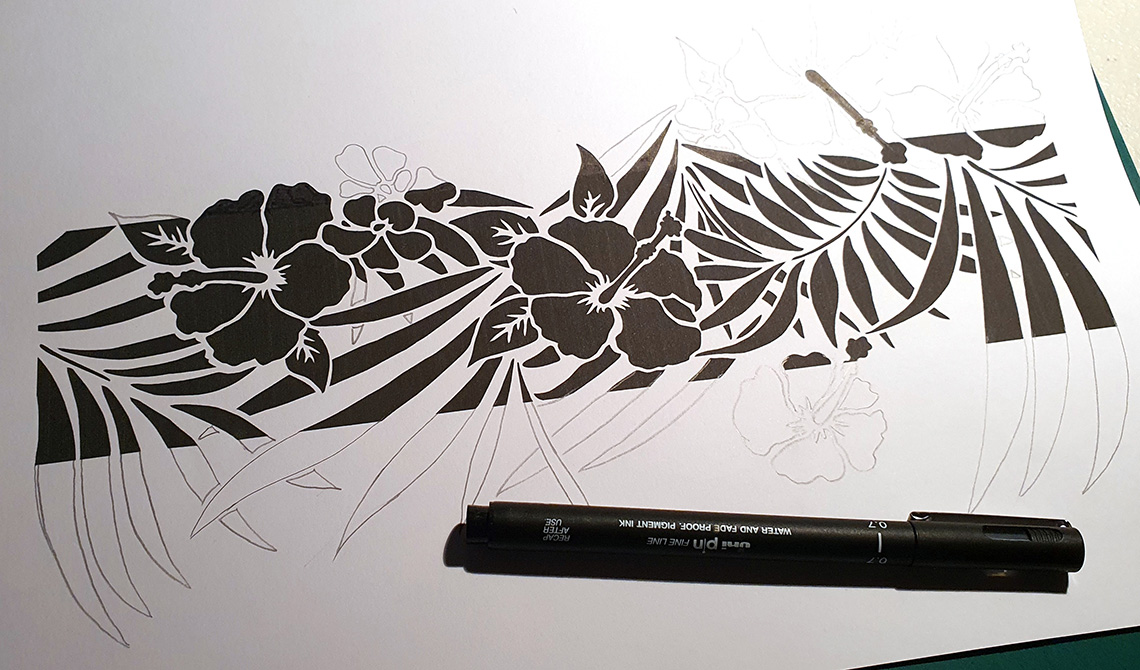 ibicci Hibiscus Swag strip being extended by pencil drawing