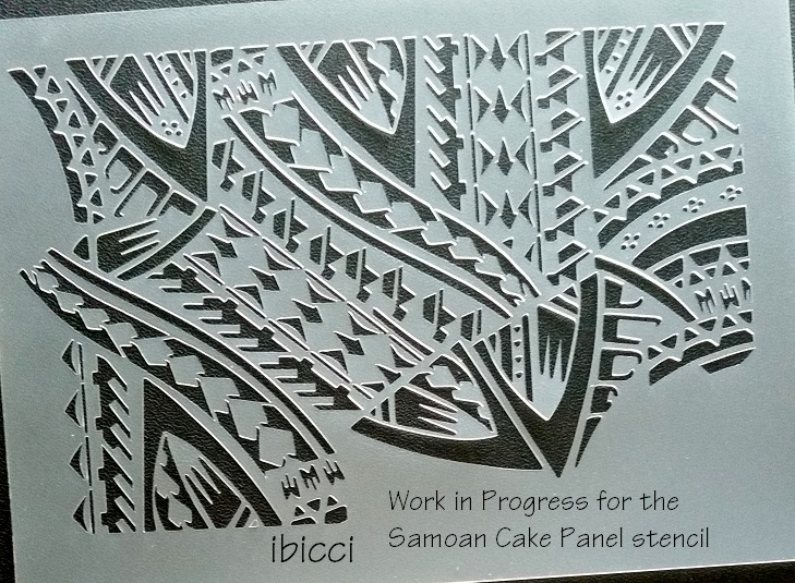 Work in progress on the ibicci Samoan Cake panel stencil