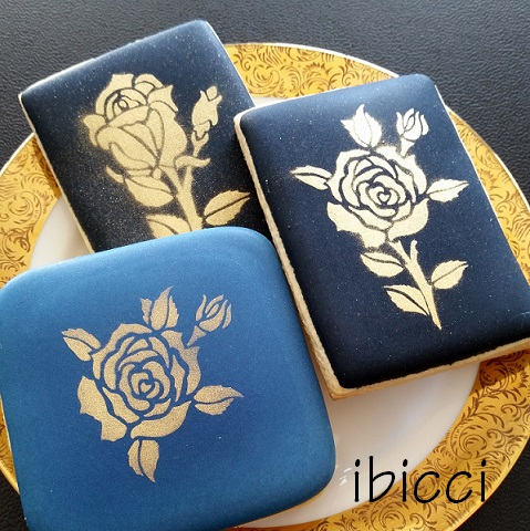 Gold airbrushed cookies using the ibicci Roses Collection stencils