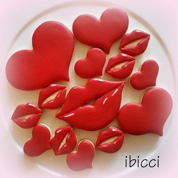 ibicci Red heart cookies using the Sinful Cutters heart cutters