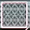 ibicci Polynesian Diamond Flower Tile Cookie Stencil - Landscape over Stencil Genie