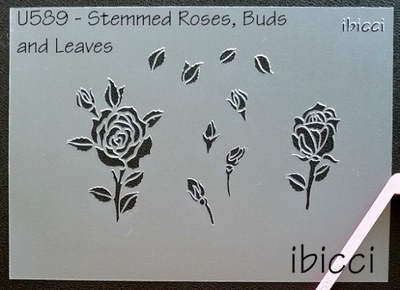 ibicci 1 part Rose Stem, buds and leaves stencil