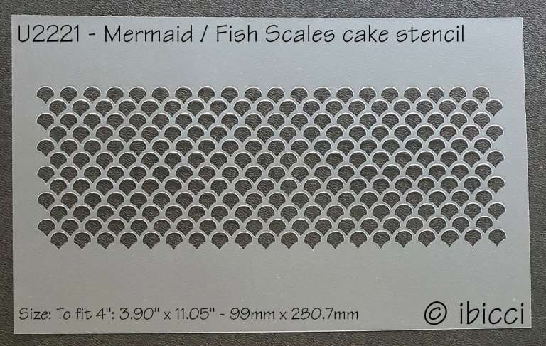 """ibicci Mermaid or Fish Scale Cake stencil - to fit 4"""""""
