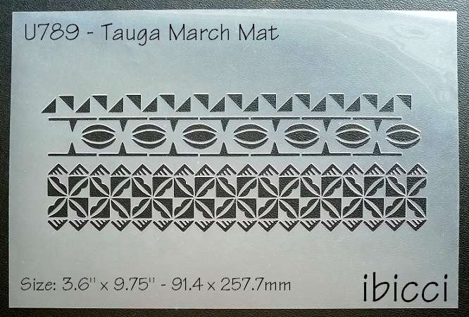 ibicci Polynesian 'Tauga' March cake panel stencil