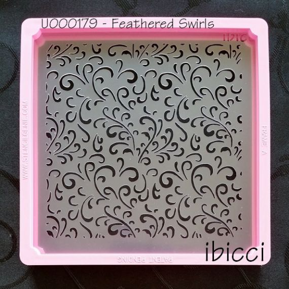 Feathered Swirls stencil