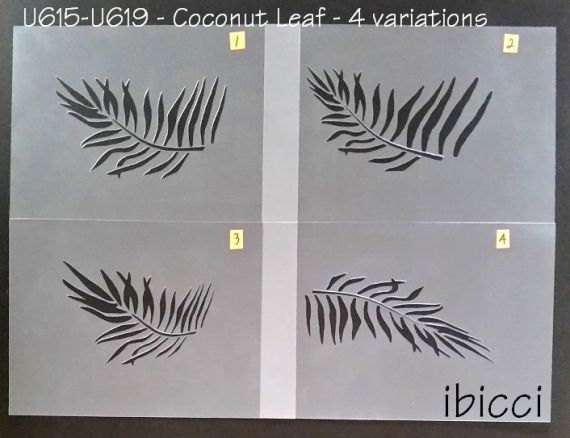 ibicci Coconut Leaves Cake stencils Leaves 1-4