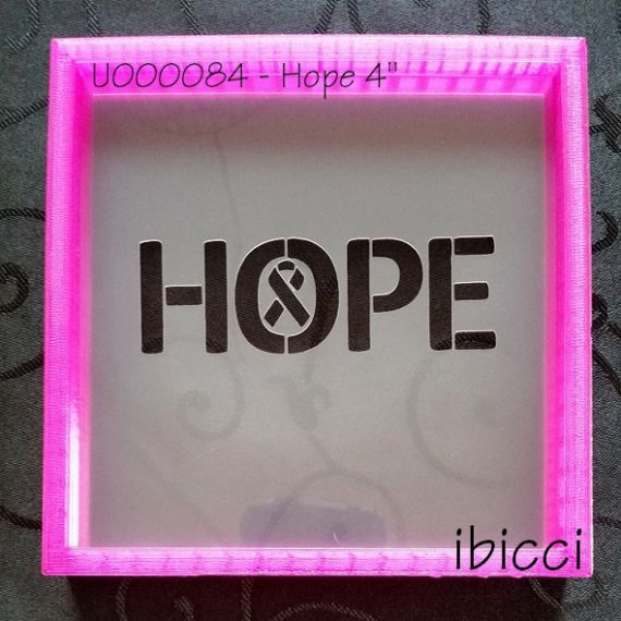 HOPE stencil with a small awareness ribbon