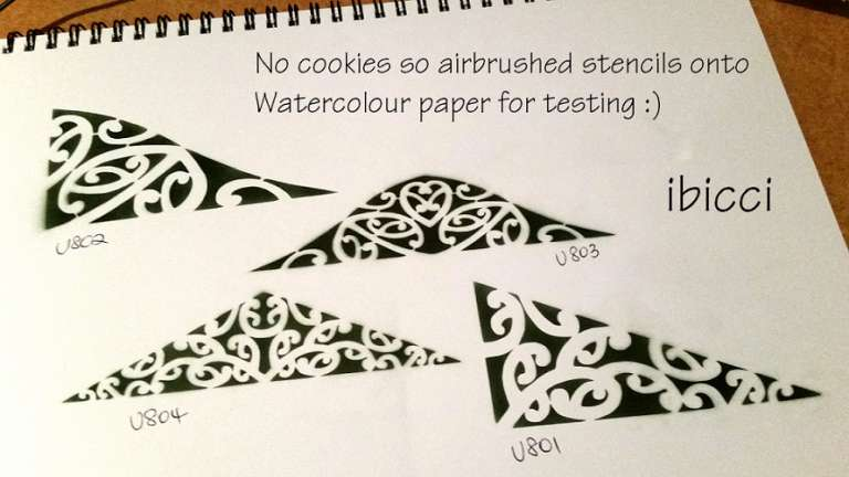 ibicci Maori triangle stencils airbrushed on watercolour paper