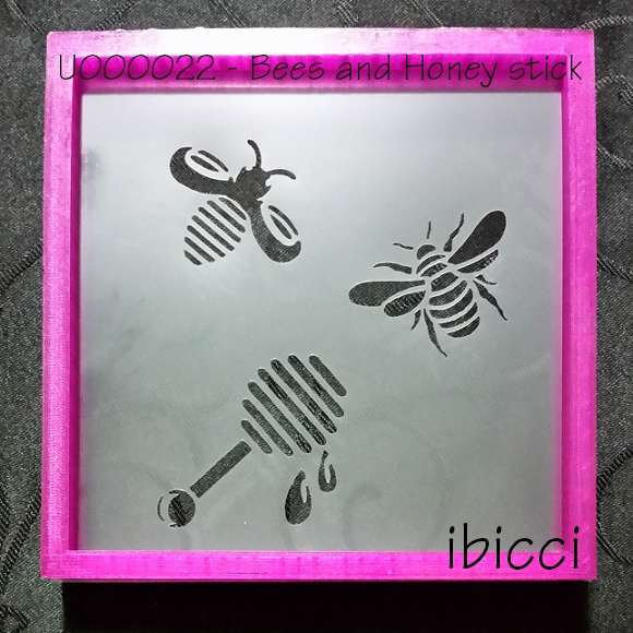 Two different bees and honey stick stencil