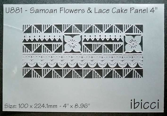 """ibicci Samoan Flower and Lace Cake Panel stencil 4"""""""