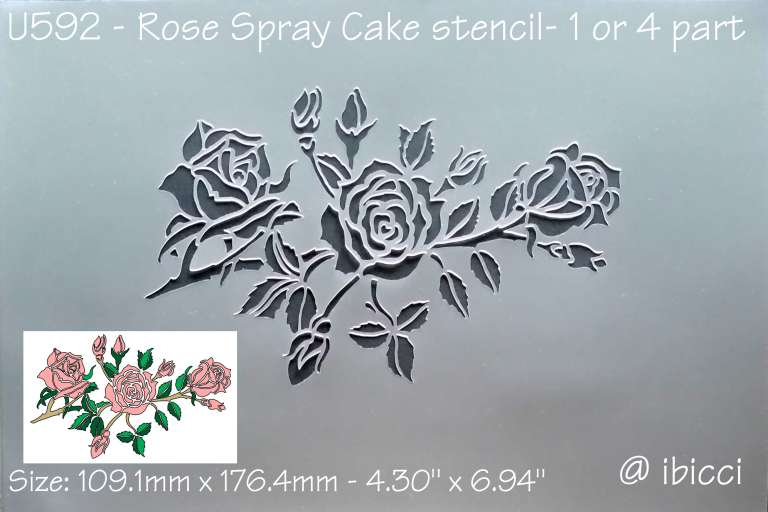 ibicci Rose Spray CAKE stencil - in 1 or 4 parts