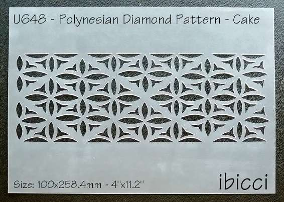 "ibicci Polynesian Diamond Pattern Cake Stencil - 4"" height"