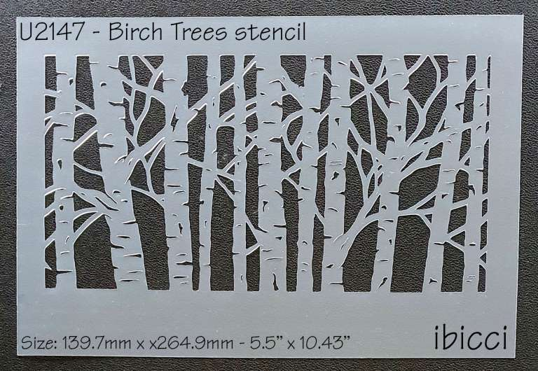 ibicci Birch Trees Background stencil 5.5""