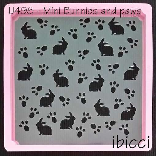 ibicci Easter mini bunnies and paw prints stencil