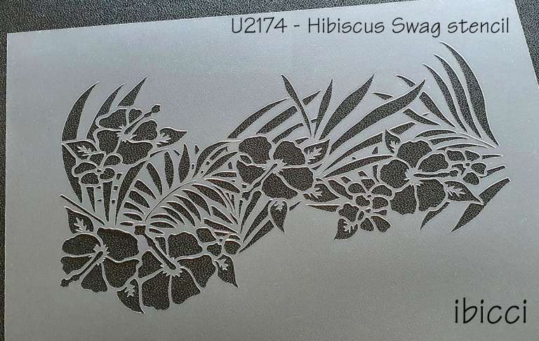 ibicci Hibiscus Swag stencil - larger sizes as per listing