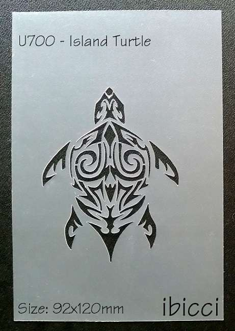 ibicci Tribal Turtle stencil - Cake size shown