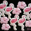 ibicci Flamingo and Hibiscus flower cookies