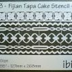 ibicci Fijian Tapa plus Flower strip Cake stencil 5""