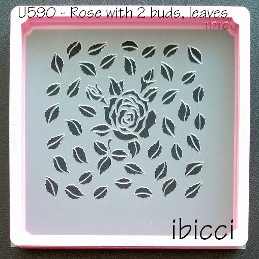 ibicci Rose, 2 Buds and Leaves stencil - 1 part