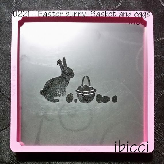Easter Bunny, Basket and Eggs stencil