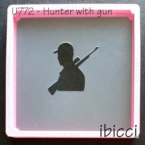 ibicci Hunter with gun silhouette stencil