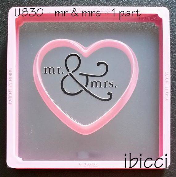 ibicci 'mr & mrs' stencil - 1 part shown on pink Wilton heart cutter