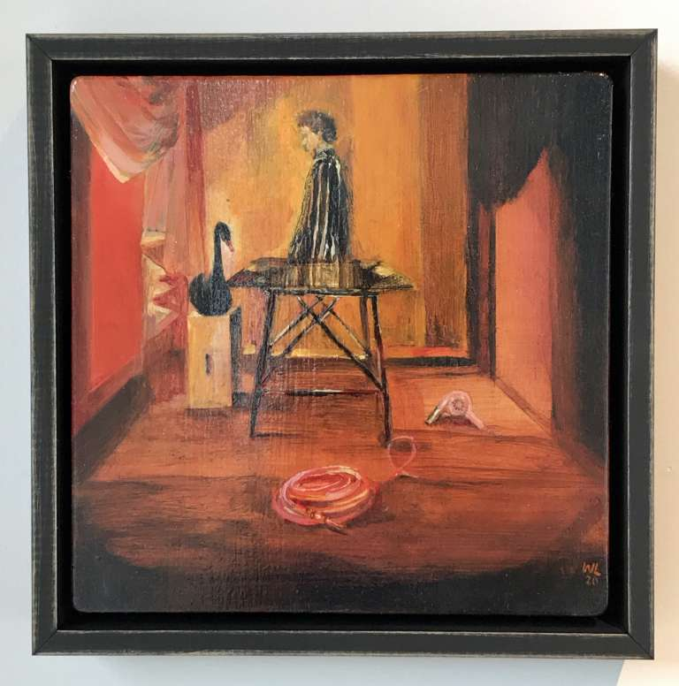 Wendy Lineham, Sunday 3pm, Oil on Board (framed)  235 x 235, $800
