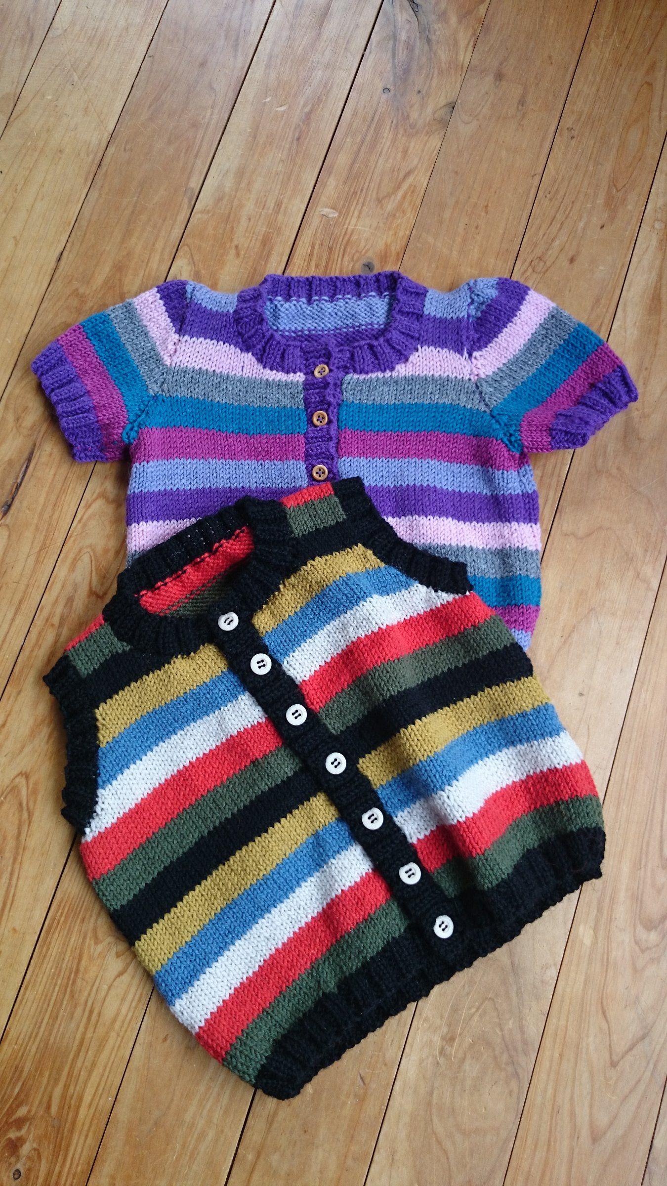 Button Front Vest or Short Sleeved Cardigan Knitting Pattern in Stripes