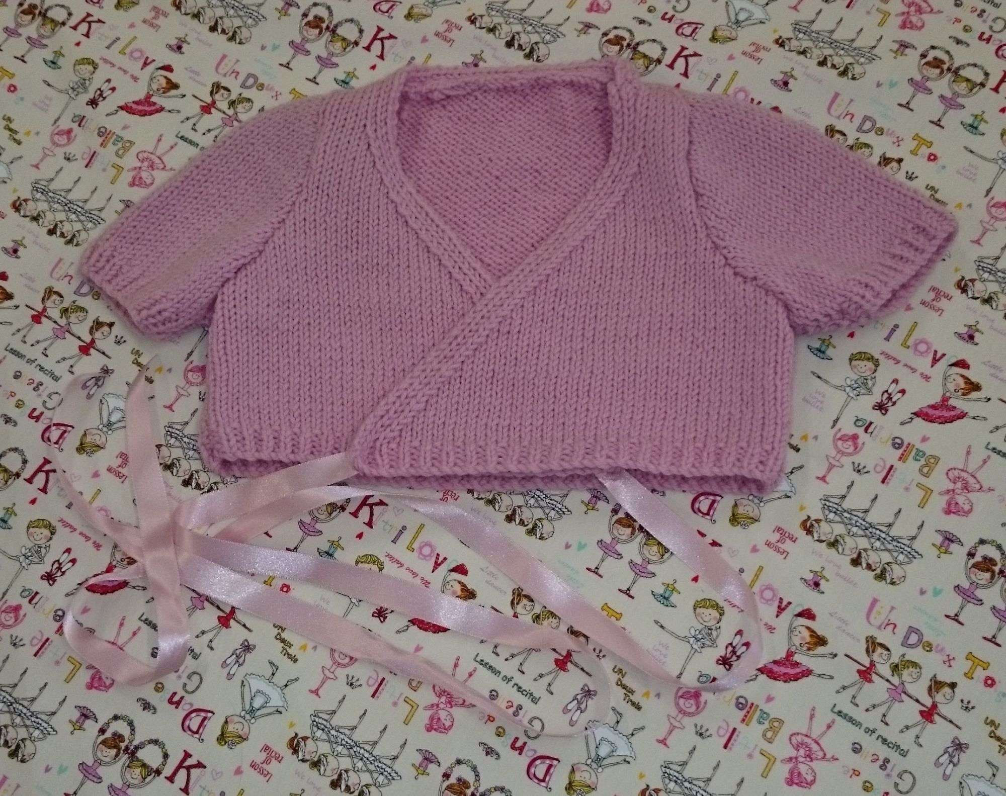 Childs Crossover Ballet Style Cardigan Knitting Pattern
