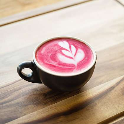Urban Blends - Beetroot Latte in a coffee cup