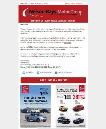 Nelson Bays Motor Group - newsletter - email marketing - mailchimp - The Marketing Studio