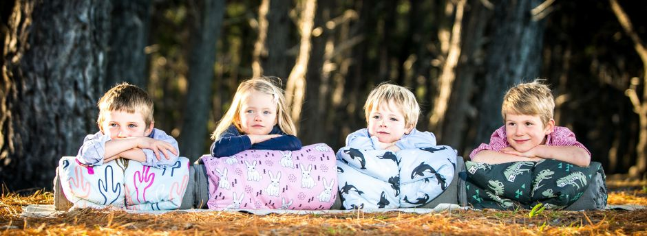 Chilling out in the woods with Undercover sleeping bags - Cacti, Pink Bunny, Whale & Dinosaur designs