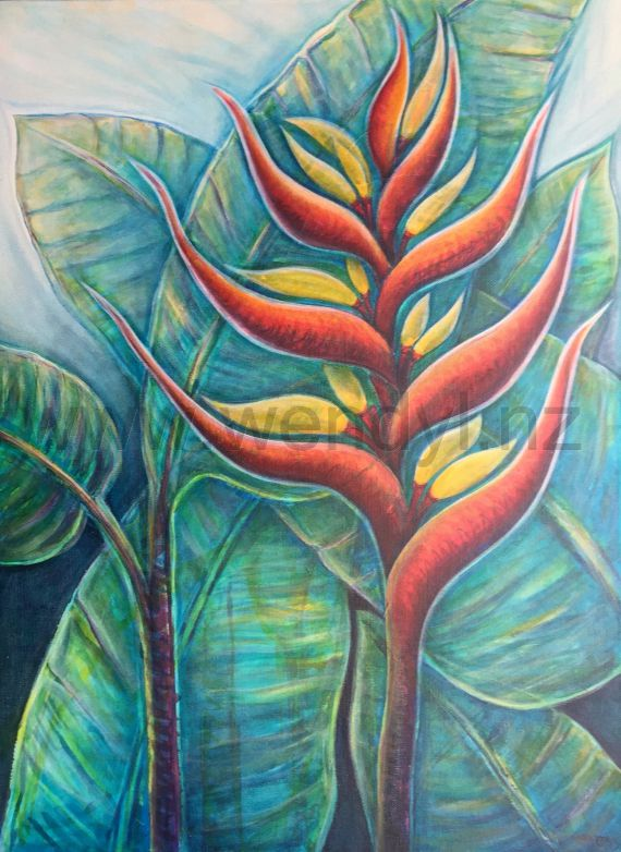Garden Goddess. Heliconia painting by Wendy Laurenson